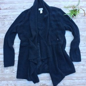 Christopher & Banks Crochet Cardigan Navy Blue